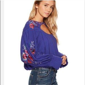 NWT Free People Lita Purple Floral Top